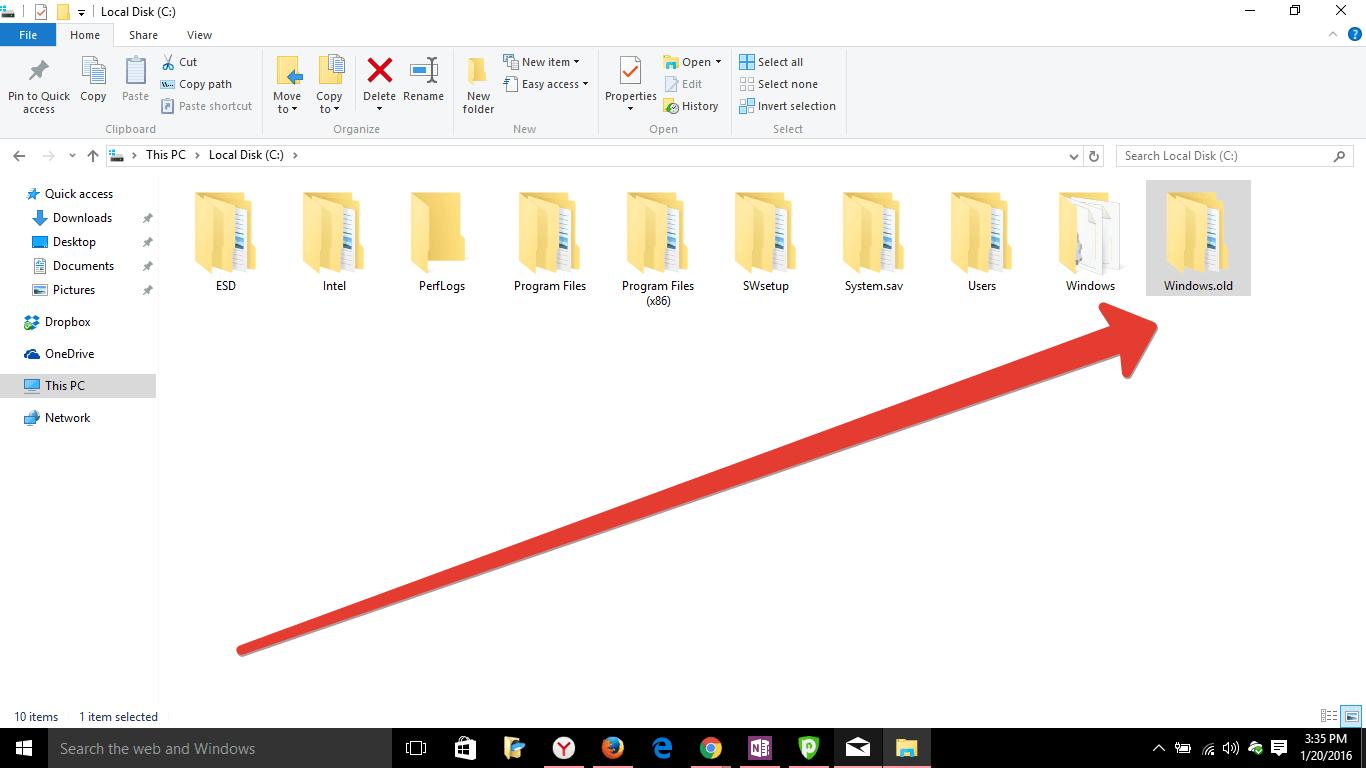 remove Windows old folder in Windows 10