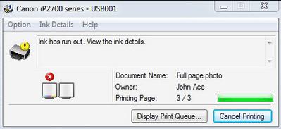 Printer ran out of ink