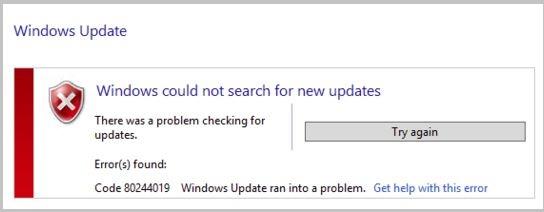 Error 80244019 , Error code 80244019