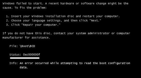 error code 0xc00000f , 0xc00000f