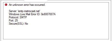 error 0x8007007A. 0x8007007A