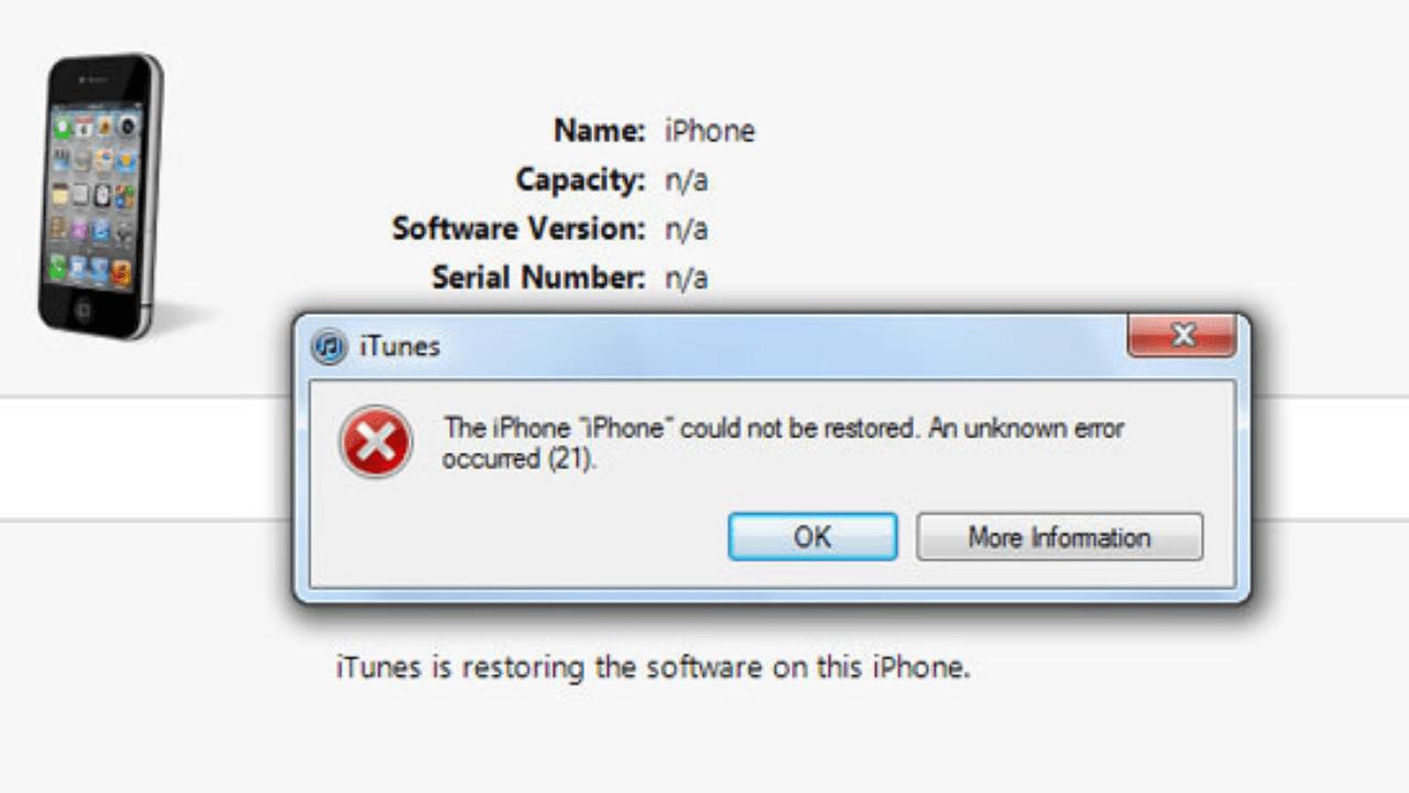 How to Fix iPhone Error 21 or iTunes Error 21