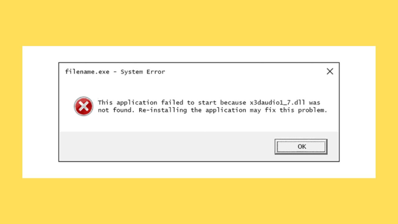 X3DAudio1_7.dll Error
