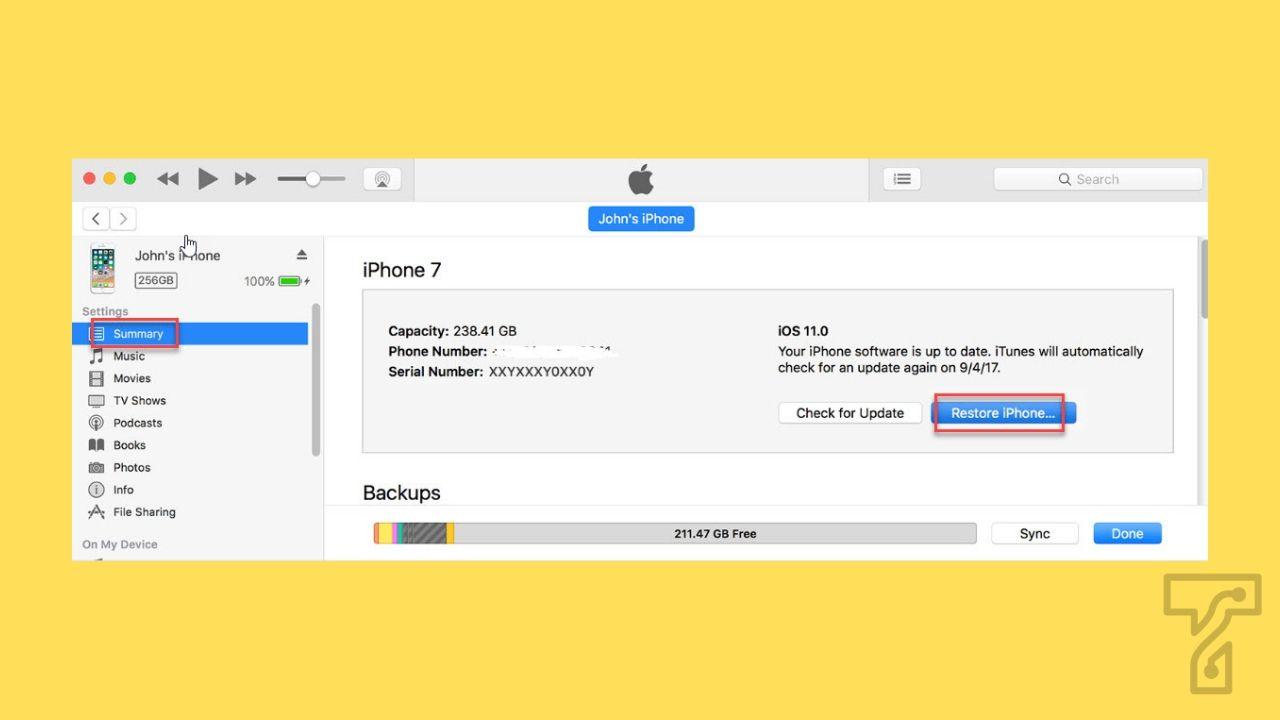 iTunes screen unlock of iPhone