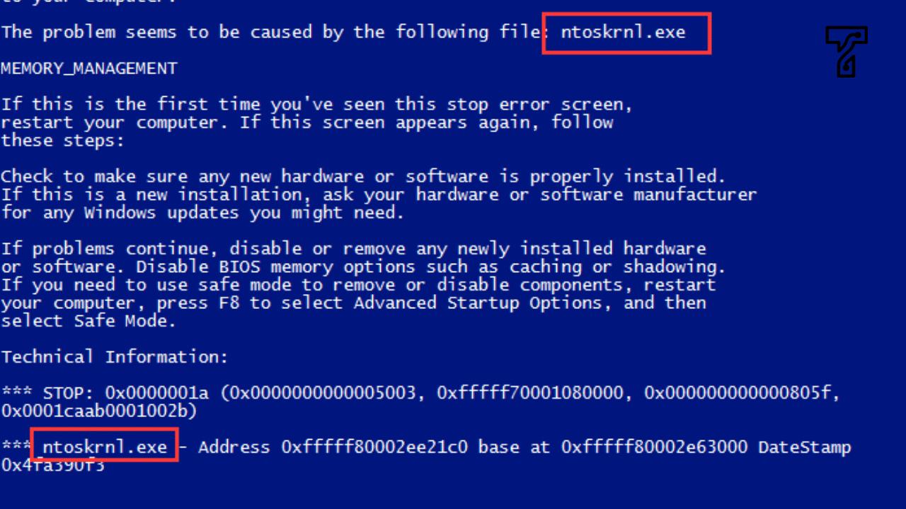 ntoskrnl.exe BSOD Blue Screen error
