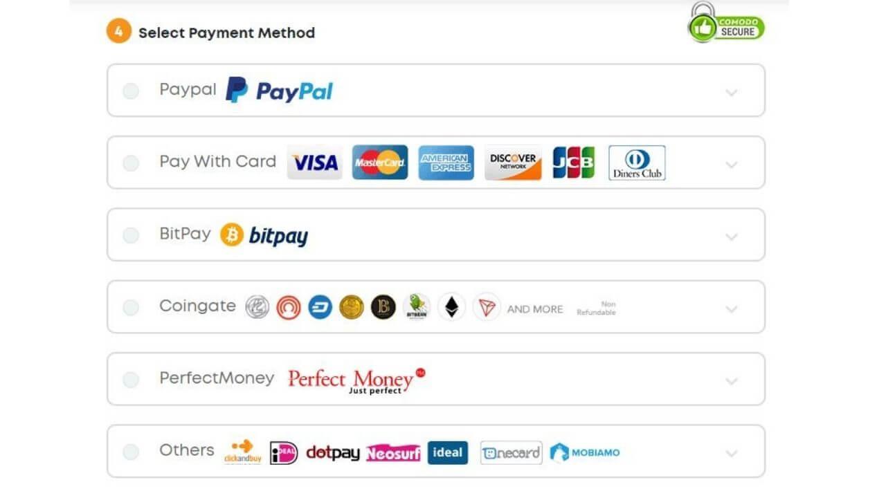 Ivacy VPN Payment method