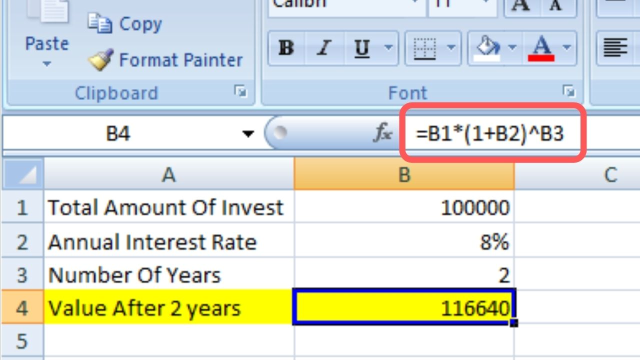 Calculate Excel Compound Interest Formula