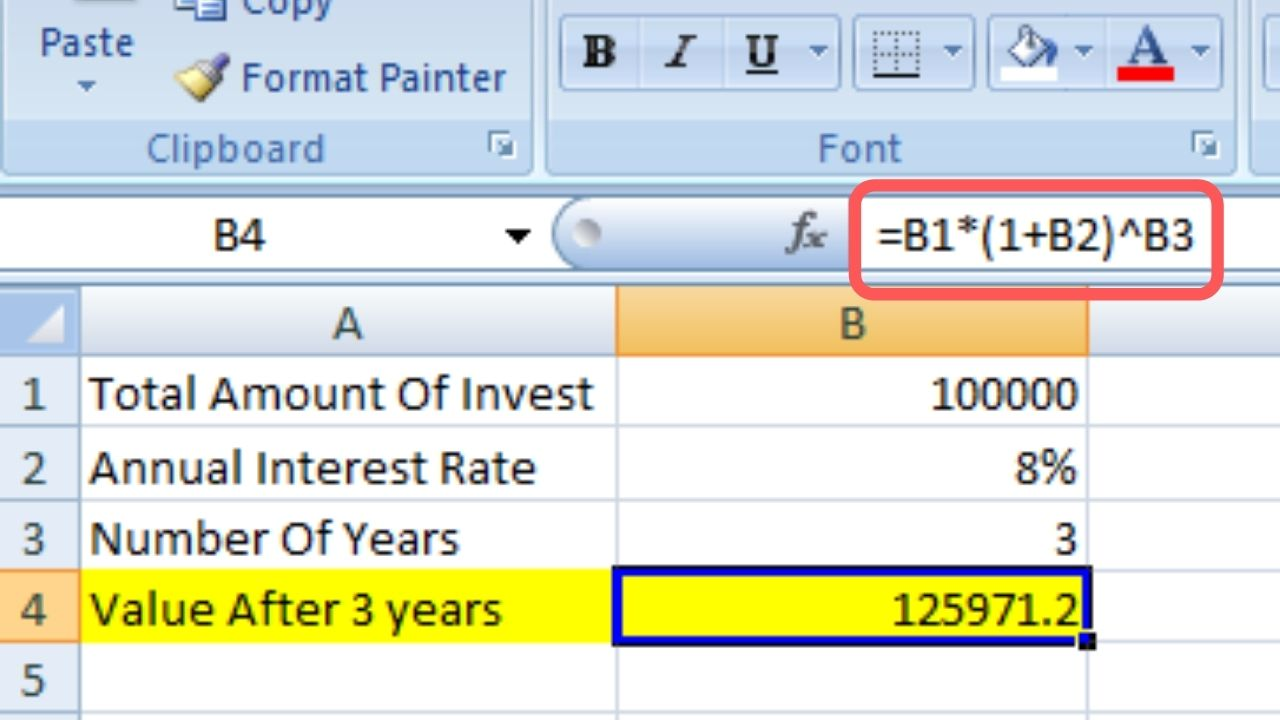 Calculate Excel Compound Interest