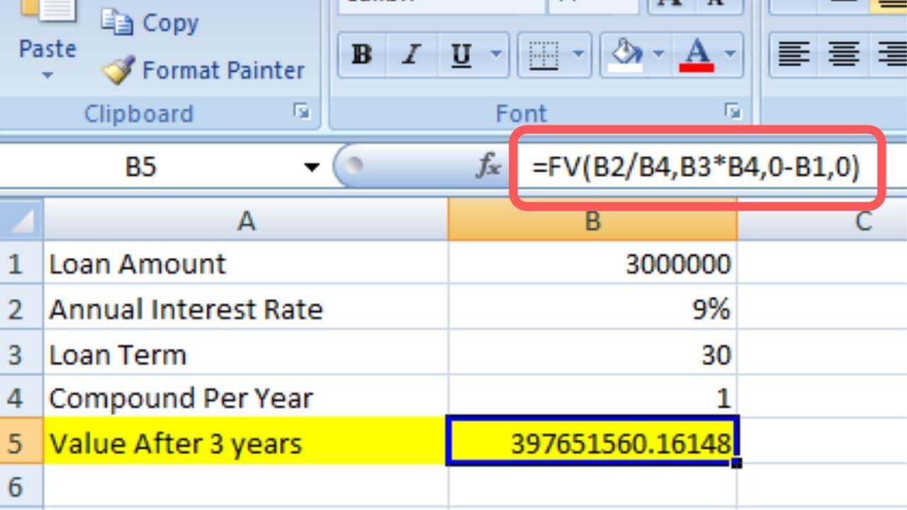 Compound Interest formula excel Using FV Function