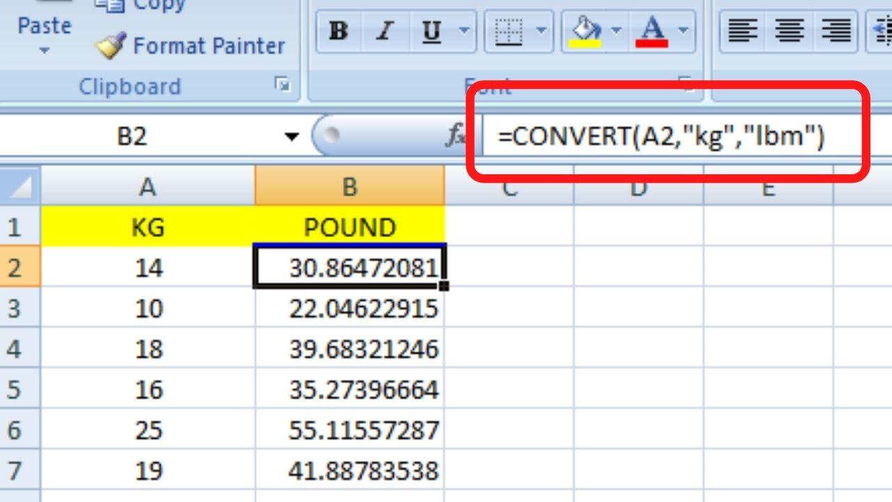 Convert KG to Pound In Excel