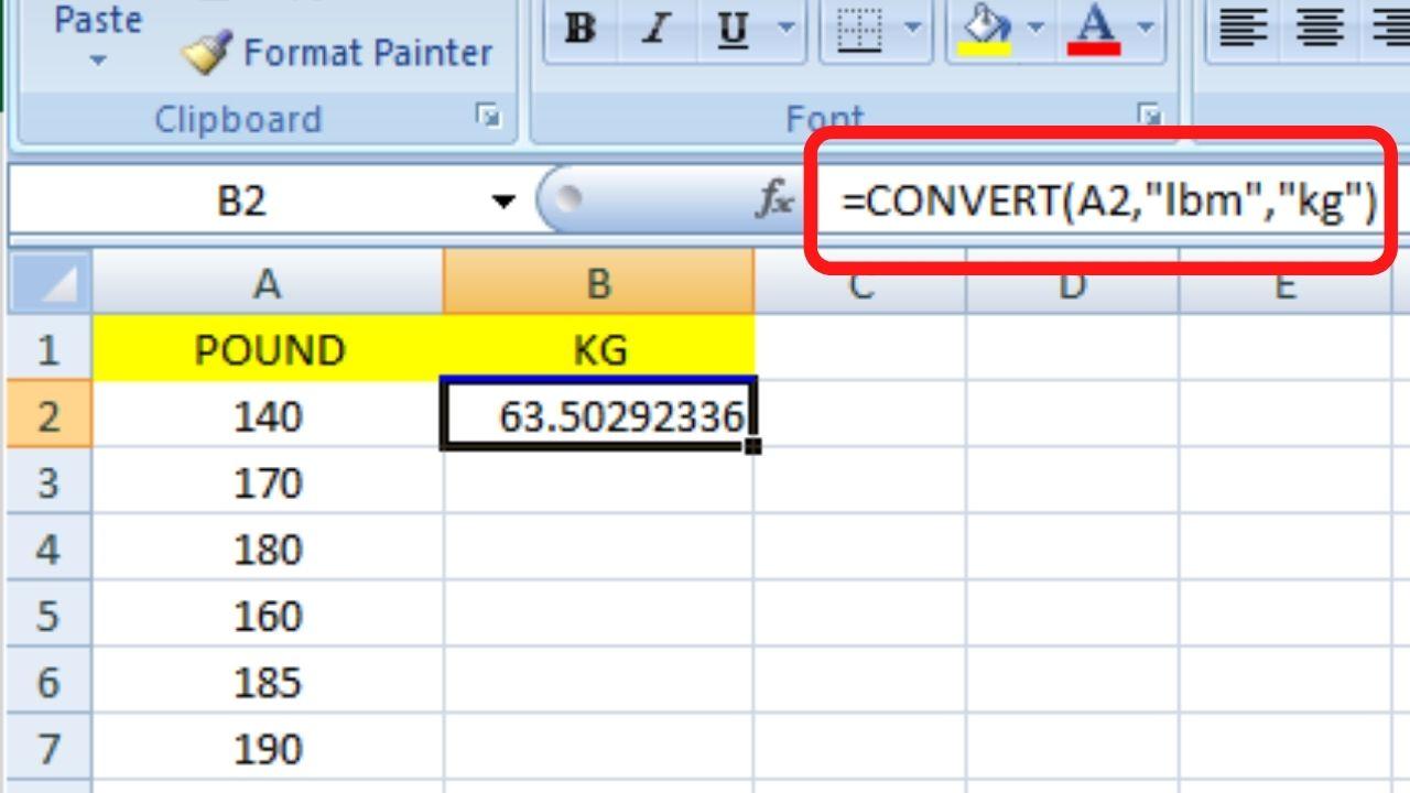 Convert Pound To KG In Excel