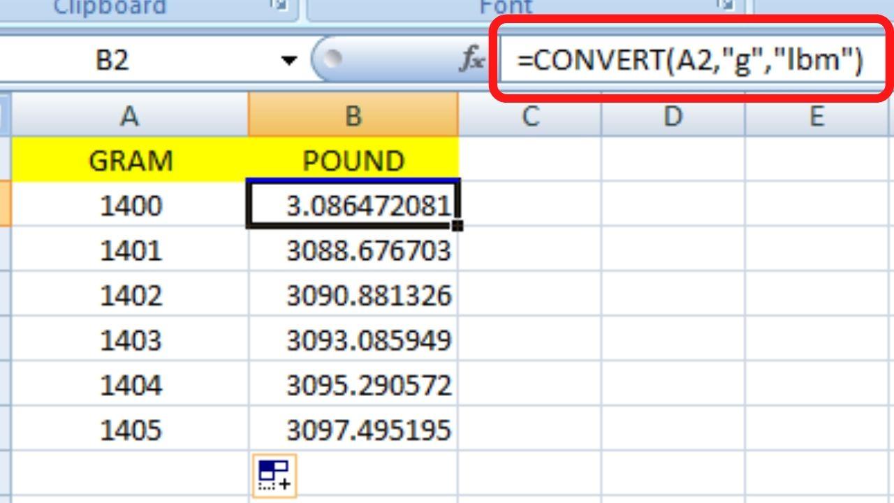 Convert gram to Pound In Excel