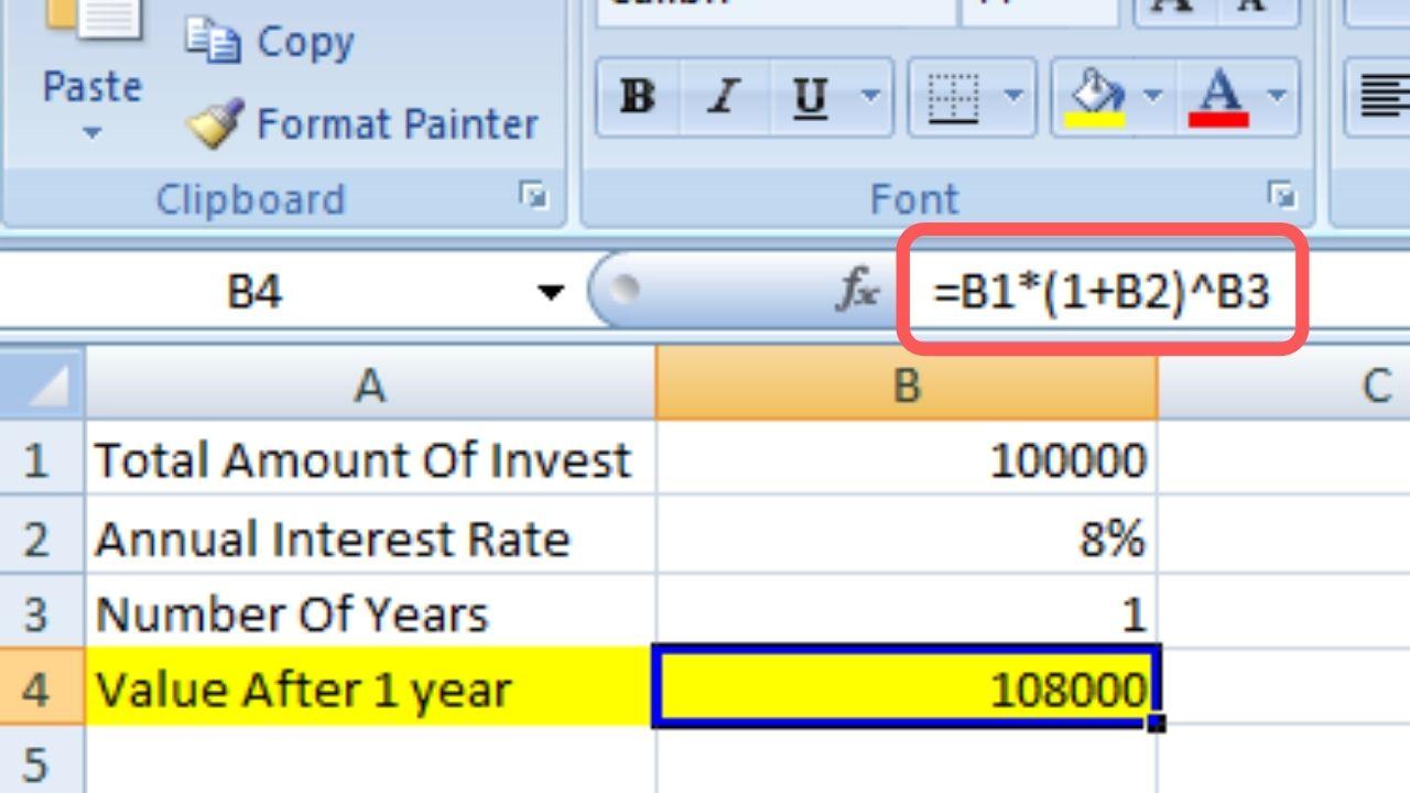 Excel Compound Interest Formula