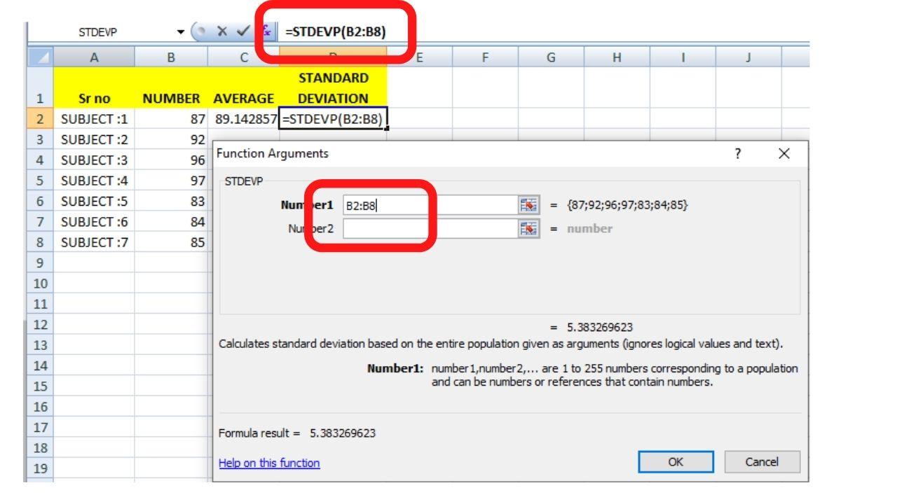 Standard deviation In Excel STDEVP Function